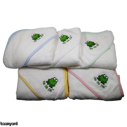 CrokCrokFrok Bamboo Hooded Towel for Baby & Toddler - White with Pink Border