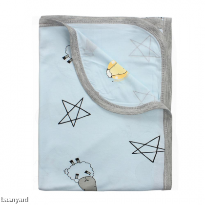 Single Layer Blanket Big Star & Sheepz Blue 0-36M